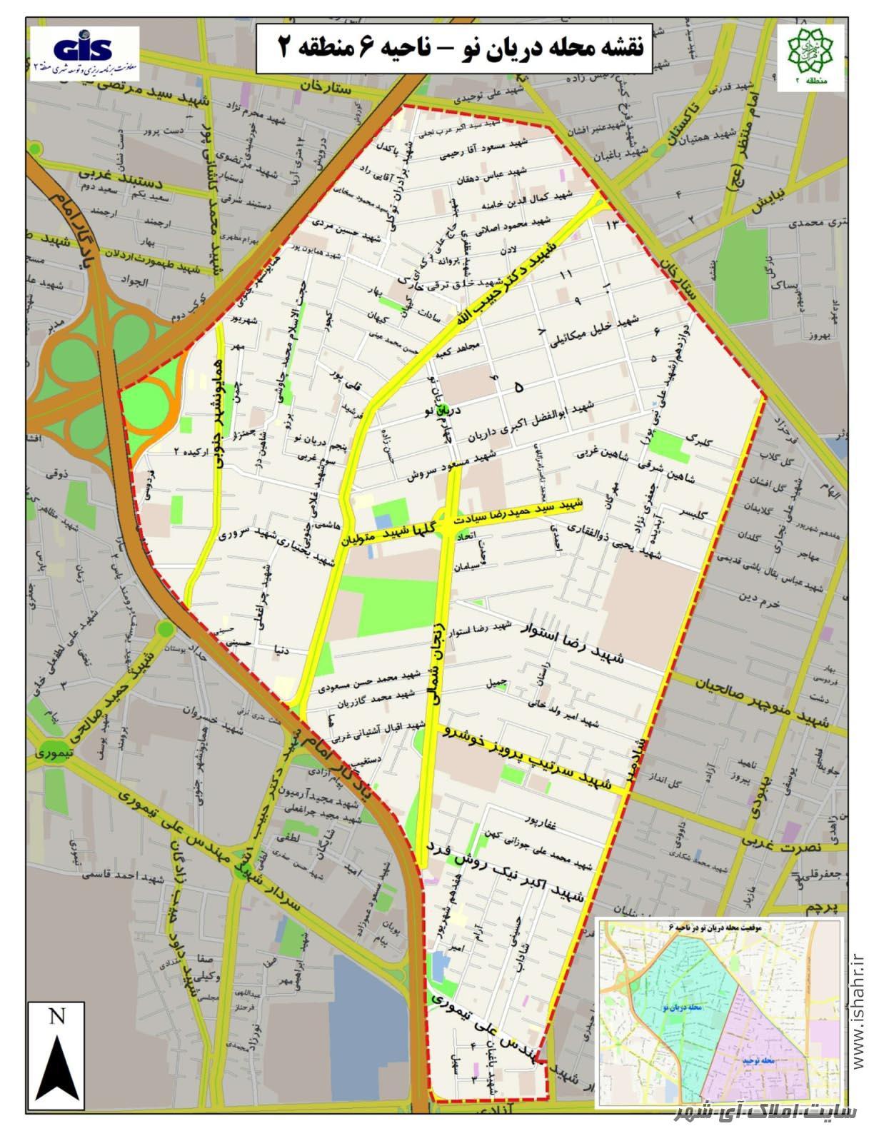 نقشه محله دریان نو   دریانو کجاست؟