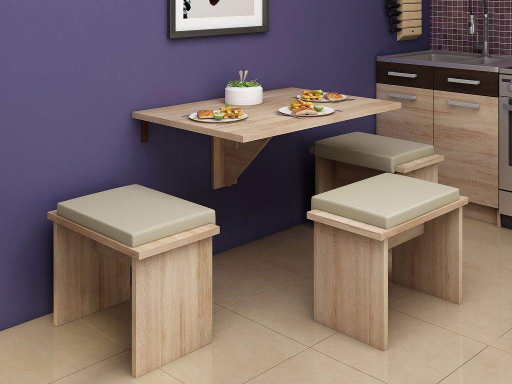 میز ناهارخوری دیواری و سه صندلی کوچک
