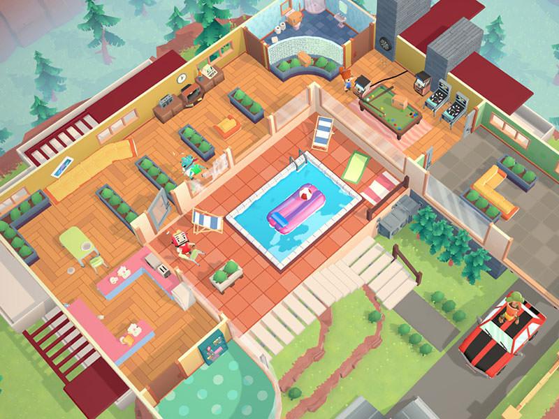 نمایی از بالا بازی Moving Out و استراحت کردن یکی از شخصیتهای بازی
